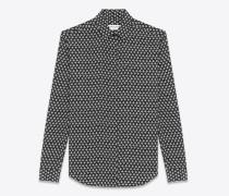 hemd mit yves-kragen aus schwarzem und grauem crêpe-de-chine mit kleeblattprint