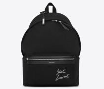 city rucksack aus schwarzem canvas mit saint laurent-stickerei