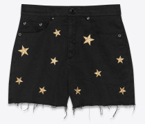 Gabardine-Shorts mit Sternenstickerei