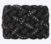anliegendes marrakech armband aus geflochtenem schwarzem leder mit nieten