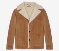 Trapper-Jacke aus cognacfarbenem Veloursleder und beigem Lammfell