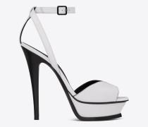 tribute 105 sandale aus schwarz-weißem leder mit offenem zehenbereich
