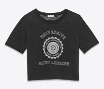 schwarzes saint laurent université t-shirt mit schwimmerrücken