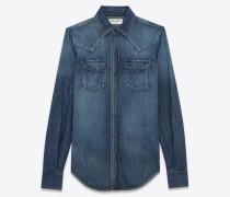 western-hemd mit abgesteppten taschen aus blauer baumwolle und leinen in schmutziger optik