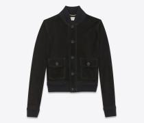 blazer aus schwarzem velours mit zwei aufgesetzten taschen