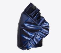 asymmetrischer minirock aus blauem metallic-leder mit rüschen