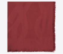 großes ysl-carré aus rotem seidenjacquard