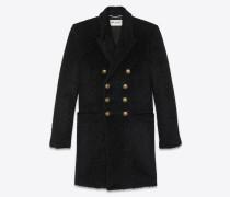 Military-Jacke aus schwarzer Wolle und Mohair