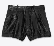 schwarze shorts mit pailletten und stickerei