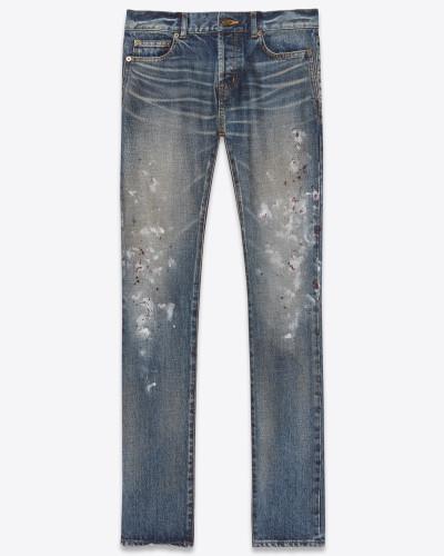 Slim-Jeans aus bemaltem, blauem Denim