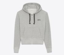 grau meliertes hoodie mit reißverschluss mit 1971-print