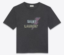 t-shirt aus schwarzem jersey mit saint laurent blitzprint