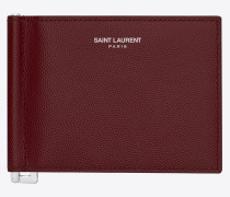 saint laurent paris portemonnaie aus dunkelrotem, strukturiertem leder