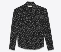 Klassische Hemdbluse aus schwarzer Seide mit Motorrad-Print