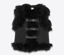 Jacke aus Lammleder und schwarzem Spaltleder