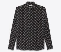Bluse aus Crêpe-de-Chine mit aufgedrucktem Dreieckmuster