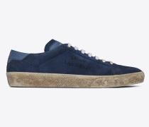 court sl/06 sneakers aus velours mit saint laurent-stickerei und denimblauem leder