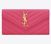 Großes Portemonnaie aus pinkfarbenem Leder mit Überschlag
