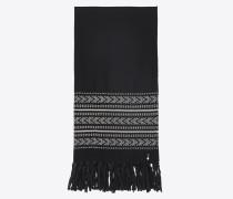 ikat-stola aus schwarzer und elfenbeinfarbener wolle und baumwolljacquard