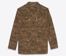 Army-Parka aus khakigrünem Gabardine und Camouflage-Optik