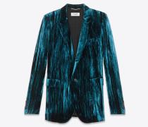 Klassische Jacke aus blauem Samt in Knitteroptik