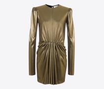 minikleid aus goldenem metallic-jersey mit geraffter taille und langen ärmeln