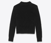 Locker sitzender Pullover aus schwarzem Strick und Velours