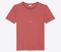 T-Shirt aus rotem Destroy-Jersey mit Saint Laurent-Quadrat.