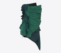 plissiertes, trägerloses minikleid aus smaragdgrünem gabardine mit raffung