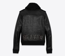 bomberjacke aus schwarzem vintage-leder mit heaven-stickerei