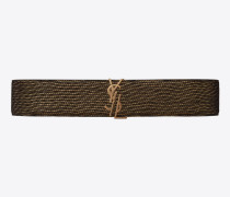 dekonstruierter gürtel aus schwarzem lamé-leder mit schnalle