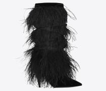 yeti 110 stiefelette aus schwarzem samt mit straußenfedern