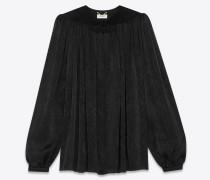 Bluse aus schwarzem Schlangenhautjacquard