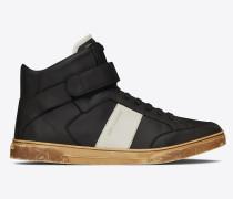 Max halbhoher Sneaker aus schwarzem Leder mit Klettverschluss