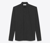 hemd aus schwarzer und elfenbeinfarbener seide mit replié-kragen und tupfenprint