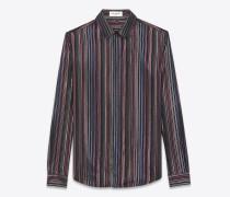 Bluse aus schwarzer Seide mit bunten Streifen