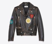 bikerjacke aus schwarzem und cognacfarbenem, antikisiertem leder mit bunten patches