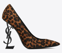 OPYUM pumps in leopard printed pony effect leather and black heel
