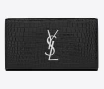 großes portemonnaie mit  verschlussklappe aus schwarzem  leder mit krokodillederprägung