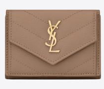 petite Monogramme Portemonnaie aus dunkelbeigem Struktur- und Steppleder