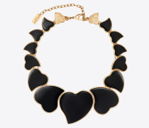 Multi-heart necklace in brass and enamel