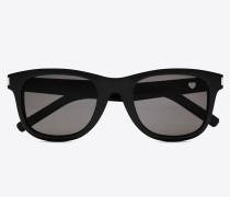 sonnenbrille 51 heart aus schwarzem acetat mit grauen gläsern