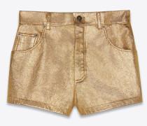 Hochgeschnittene Shorts aus Lamé-Leder