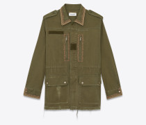 Military parka in cotton gabardine with floral embroidery