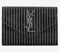 Kleines Portemonnaie aus gestreiftem, glitzerndem Lackleder – E-Shop-Exklusivität