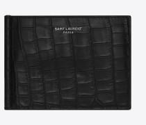 saint laurent paris portemonnaie mit doppeltem geldscheinclip aus mattem leder mit krokodillederprägung