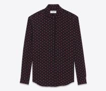 bluse aus schwarzem und rotem seidencrêpe mit mikro-herz- und blitzprint
