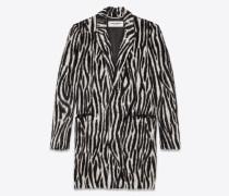 Mantel aus schwarz-weißem Kunstzebrafell