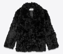 Kurzer Mantel aus schwarzem Alpaka