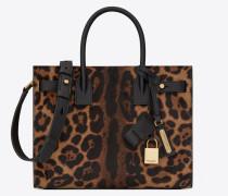 sac de jour tasche in der größe baby, aus kalbsleder mit braunen und schwarzen leopardentupfen